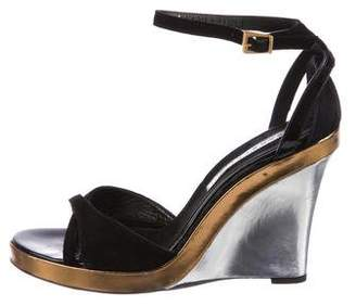 Barbara Bui Metallic Wedge Sandals