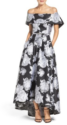 Women's Vince Camuto Belted Jacquard Off The Shoulder Gown $308 thestylecure.com