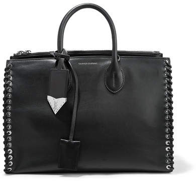 CALVIN KLEIN 205W39NYC - Whipstitched Leather Tote - Black