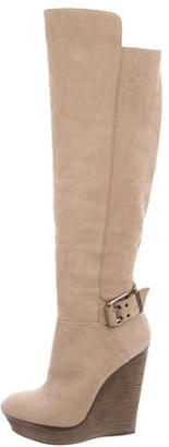 Brian Atwood Suede Knee-High Wedges $225 thestylecure.com