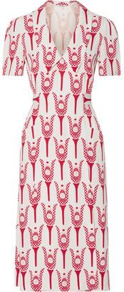 Miu Miu - Printed Crepe De Chine Wrap Midi Dress - Red