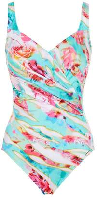 Maryan Mehlhorn Wrap Front Printed Swimsuit