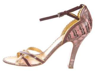 Prada Leather-Trimmed Lizard Sandals