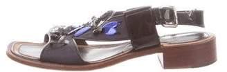 Prada Embellished Canvas Ankle Strap Sandals