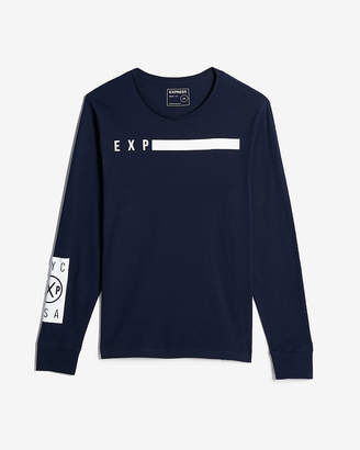 Express Exp Solid Bar Long Sleeve Graphic Tee