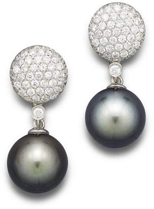 Bloomingdale's Cultured Tahitian Pearl and Diamond Drop Earrings in 14K White Gold, 11mm
