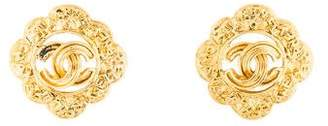 Chanel CC Logo Floral Clip-On Earrings
