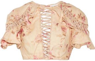 Corsair Flutter Open-back Crochet-trimmed Floral-print Linen Top - Beige