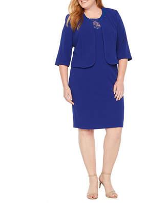 MAYA BROOKE Maya Brooke 3/4 Sleeve Illusion Lace Jacket Dress - Plus
