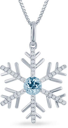 ENCHANTED FINE JEWELRY BY DISNEY Enchanted Disney Fine Jewelry Genuine Blue Topaz & 1/6 C.T. T.W. Diamond Frozen Snowflake Pendant Necklace In Sterling Silver