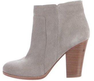 Pour La Victoire Suede Round-Toe Ankle Boots $125 thestylecure.com