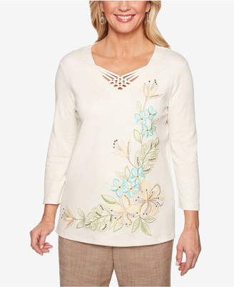 Alfred Dunner Petite Santa Fe Embroidered Top