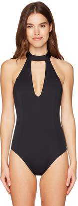 Laundry by Shelli Segal Women's Italian Luxe Solids Choker One Piece Swimsuit
