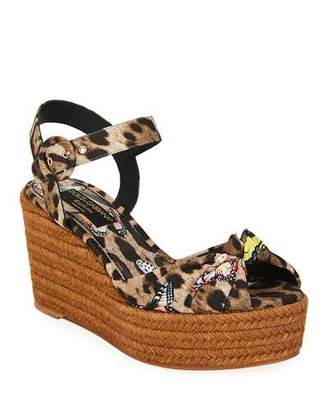 Dolce & Gabbana Leopard and Butterfly Espadrilles