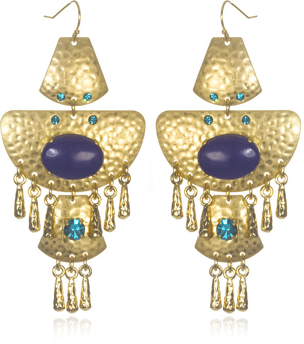 Sequin Cleopatra Statement Earrings, Turquoise/Lapis