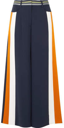 Peter Pilotto Striped Satin-trimmed Cady Culottes - Navy