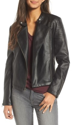 Women's Cupcakes And Cashmere Cherlin Faux Leather Moto Jacket $145 thestylecure.com