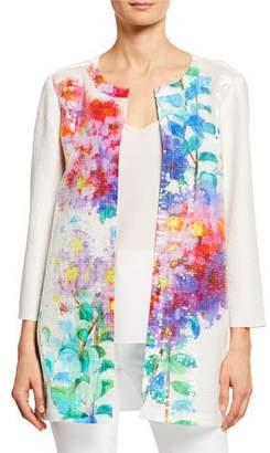 Berek Crinkle Glisten Floral-Print 3/4-Sleeve Long Cardigan