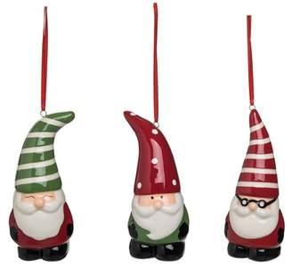 Transpac Doll Gnome Santa Ornament - Set of 3