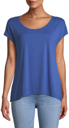 Three Dots Cap-Sleeve Draped Tee