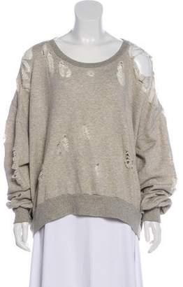 Unravel Project Distressed Scoop Neck Sweatshirt