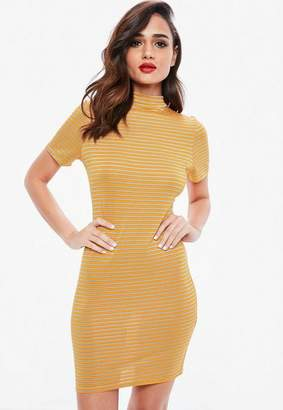 Missguided Orange Stripe High Neck Bodycon Mini Dress