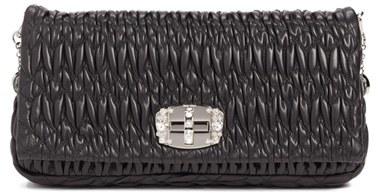 Miu MiuMiu Miu Crystal Embellished Matelasse Leather Shoulder Bag - Black