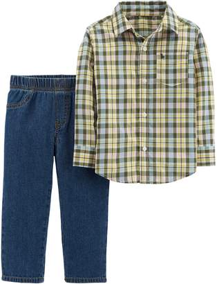 Carter's Toddler Boy Plaid Button Down Shirt & Denim Pants Set