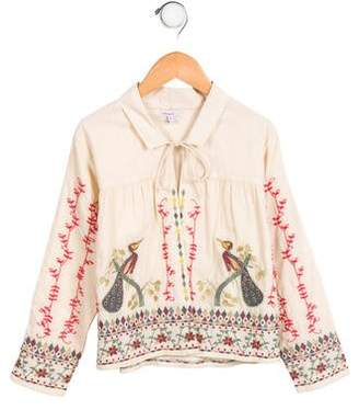 Moon et Miel Girls' Embroidered Jacket