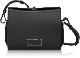 Lancel Pia Black Smooth Leather and Suede Crossbody Bag
