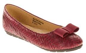 Victoria K Women's Weave Texture With Satin Bow Ballet Flats