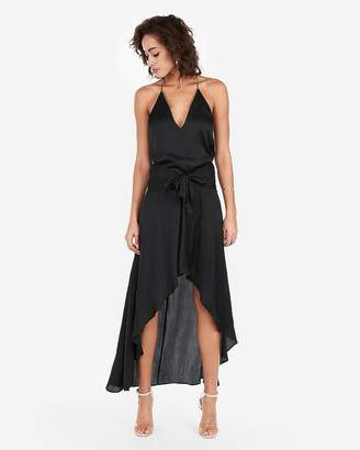 Express High Waisted Tie Front Satin Hi-Lo Maxi Skirt