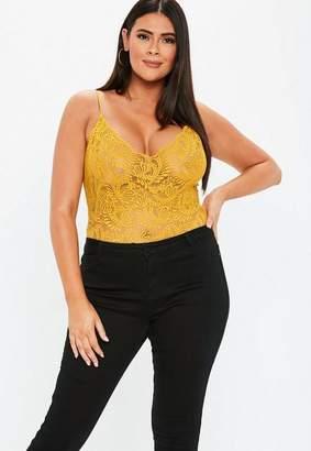 Missguided Plus Size Mustard Lace Bodysuit