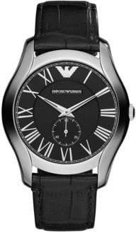 Emporio Armani Mens Silvertone and Leather Chronograph Watch