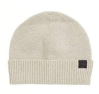 HUGO BOSS Italian-made knitted beanie hat in a cotton blend