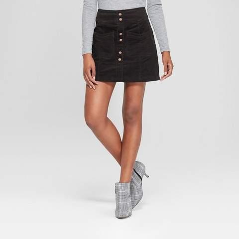 3Hearts Women's Button Detail Corduroy Skirt - 3Hearts (Juniors') Black