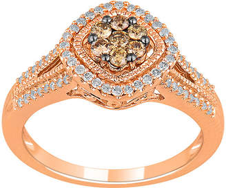 JCPenney FINE JEWELRY 1/2 CT. T.W. White & Champagne Diamond 10K Rose Gold Ring