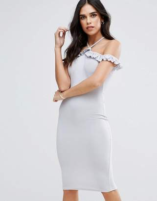 AX Paris Cold Shoulder Frill Detail Midi Dress