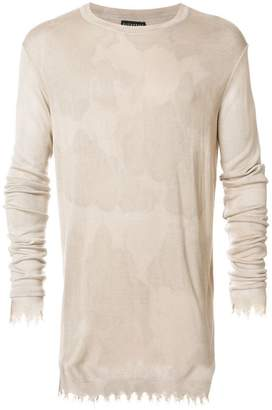 Overcome camouflage destroyed hem sweater