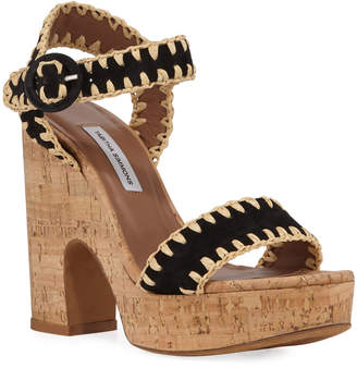 Tabitha Simmons Elena Whipstitched Suede Platform Sandals