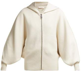 Chloé Logo Intarsia Wool And Cashmere Blend Cardigan - Womens - White