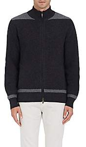 Luciano Barbera MEN'S COLORBLOCKED WOOL-CASHMERE ZIP-FRONT SWEATER - GRAY SIZE M