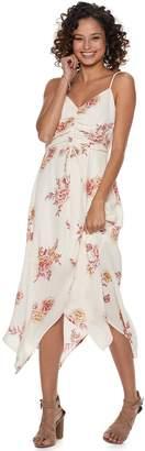 Trixxi Juniors' Print Ruched Handkerchief-Hem Dress
