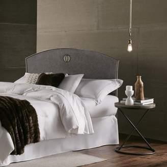 Barrington Leggett & Platt Metal Headboard with Industrial Circular Design, Silver Bisque Finish, Queen