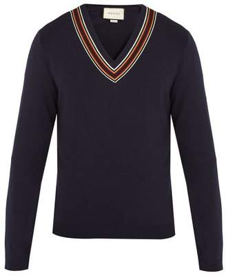 Gucci - V Neck Ribbon Trimmed Wool Sweater - Mens - Navy