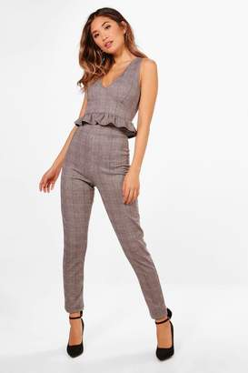 boohoo Check Plunge Crop and Skinny Trouser Set