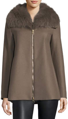 Herno Long-Sleeve Zip-Front Swing Wool Coat w/ Removable Fur Collar