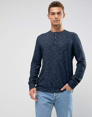 Abercrombie & Fitch Long Sleeve Top Slim Fit Henley in Navy