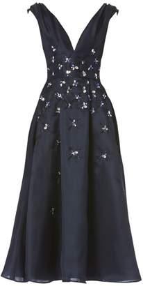 Carolina Herrera Embellished Silk Cocktail Dress