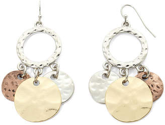 Bold Elements Tri-Tone Hammered Disc Shaky Earrings